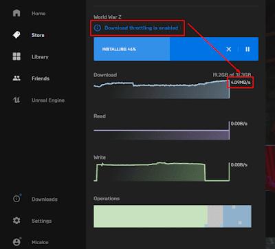 Cara Membatasi Kecepatan Download Epic Launcher